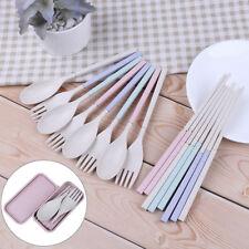 Portable reusable spoon fork travel chopsticks wheat straw tableware-cutlery-set
