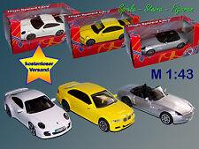 Metall Modellauto 1:43 , Porsche 911 Turbo, BMW M3, BMW Z8 / NEU OVP