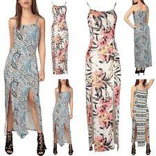 Ladies  Women Floral Print Strappy Double Split Slit Long Summer Cami Maxi Dress