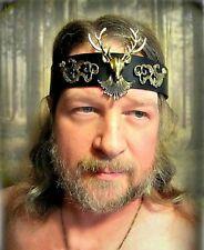 Stag Leather Headband Cernunnos Green Man Burning Man Ren Faire Pagan Ritual
