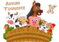 Cialda ANIMALI FATTORIA Compleanno Decorazione Torta Ostia o Zucchero con NOME