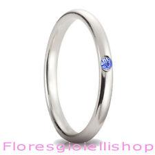 Fedina in argento con brillante Cubic Zirconia blu, disponibile in vari colori