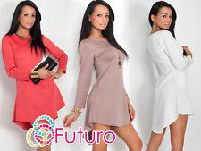 De moda para mujer asimétrico Vestido Manga Larga De Cuello Redondo túnica Tamaños 8-18 fk1223