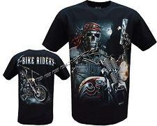 Grim Reaper Pirata Moto Rider resplandor en camiseta oscura, Impresión Frontal y Trasero M-XL