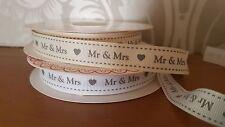 Bertie's Bows MR & MRS grosgrain ribbon White or Ivory 16mm Wedding Cake Cards