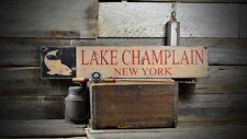 Custom Lake Champlain NY Sign - Rustic Hand Made Vintage Wooden ENS1000504