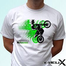 Freestyle Motocross-Blanc T Shirt Top Sport Design-Hommes Femmes Enfants Bébé