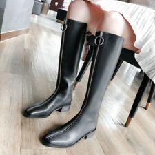 Women's Biker Square Toe Front Zip Chunky Heel Mid Calf Knee Knight Riding Boots