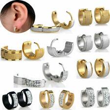 Stainless Steel Circle Beads Huggie Hoop Earrings Jewelry For Men Women Unisex
