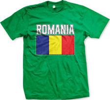 Romania Flag Colors Font Romanian Country Soccer Heritage Ro Rou Men's T-Shirt