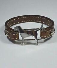 Bracciale in argento con sagoma di cane razza Labrador e cinturino Luce