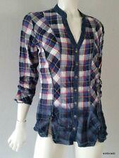BIBA SPORTIVO camicetta camicia di jeans denim con la sciarpa TGL 36 UK10 NUOVO