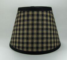 Primitive Black Sturbridge Plaid Homespun Fabric Lampshade Lamp Shade