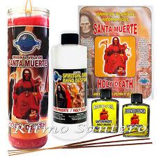 SANTA MUERTE Kit Ritual Vela 7 Dias, Bano Despojo hierbas, Aceite, Esencia Wicca