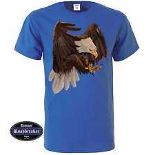 Shirt royal blue with an animal nature motif model eagle attacking