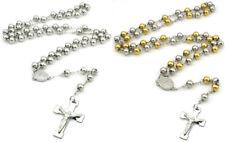 OR ARGENT ACIER INOXYDABLE Christ Jésus croix crucifix chapelet collier