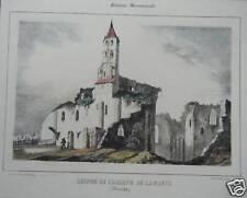 LITHOGRAPHIE AQUARELLEE 19è ABBAYE DE LA SAUVE GIRONDE