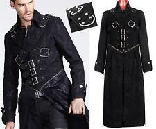 Manteau long gothique punk denim vintage harnais mode sangles zip Punkrave Homme