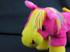 BIG PINK FUCHSIA NEON YELLOW PURPLE YARN MANE HORSE PLUSH STUFFED ANIMAL TOY