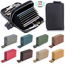 Men's RFID Block Genuine Leather Key Ring Secure Card Holder Zip Around Wallet