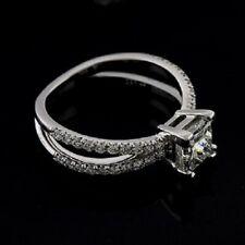 Forever One Moissanite Platinum Diamond Princess Cut Engagement Ring