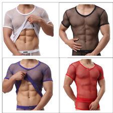 Men's Mesh T-shirt Gym Training Tank Tops Fish Net Tee Shirt Sporting Clothing
