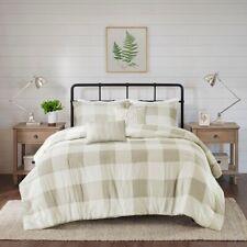 New Cabin Reversible Indigo Taupe Buffalo Plaid Herringbone 5 pcs Comforter Set