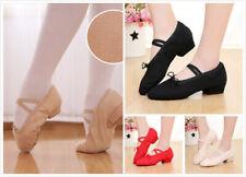 AU SELLER Womens Girls Low Heel Canvas Dance Shoes Ballroom Tango Latin da033