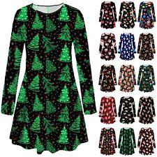 Plus Size Womens Girls Christmas Tree Xmas Santa Snowman Gift Party Swing Dress