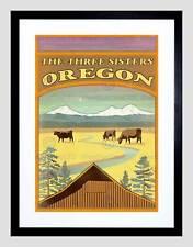 Voyage oregon three sisters mountain cattle vache lodge encadrée imprimer B12X12369