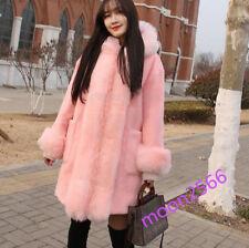 Winter Women Faux Fur Big Faux Fur Collar Hooded Coat Jacket Parka