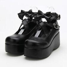 Gothic Goth Lolita Victorian Flatform Damen-schuhe Schwarz Pumps Kostüm Cosplay