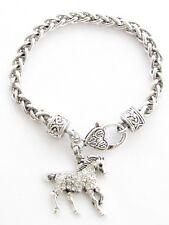 Horse Crystal Fashion Chain Bracelet Jewelry Pony Equestrian