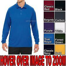 MENS Performance Dri Fit Wicking Long Sleeve Polo Golf Shirt S-XL, 2X, 3X, 4X,5X