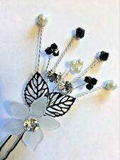 DIAMANTE FLOWER & SWAROVSKI ELEMENT HAIR PIN BRIDE BRIDESMAID CHOOSE YOUR COLOUR