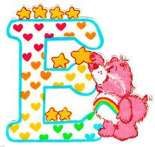 """2.5""""-5"""" Care bears alphabet letter e name monogram heat transfer iron on"""