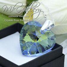925 Silver Necklace Crystals fom Swarovski®  *LIGHT SAPPHIRE AB * Heart 18-28mm