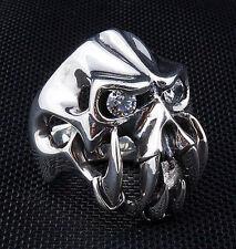 DIAMOND FANG DEVIL 925 STERLING SILVER MENS RING HEAVY SKULL BIKER GOTHIC ROCK