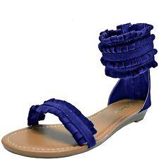 New women's shoes open toe sandals back zipper gladiator suede like navy blue