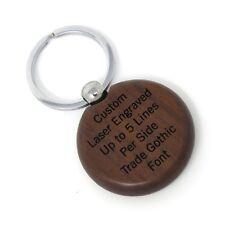 Circle Walnut Key Chain - Ring - Custom Engraved Wood - Choose Font - USA