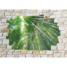 Stickers mural mur de pierre Bambous 8519