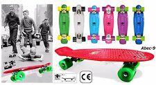 "22"" Retro Skateboard TESCHIO Mini Longboard Skate Board VINTAGE Urban City ABEC9"