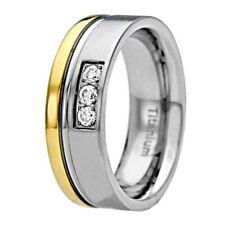 8mm Titanium Three Stone Round Cubic Zirconia Tu-Tone Wedding Ring