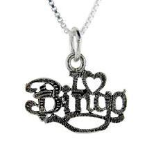 "Sterling Silver ""I Love Bingo"" Word Pendant / Charm, 18"" Italian Box Chain"