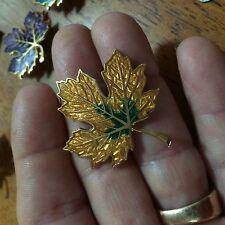 Vintage Cloisonne leaf Pin/Broach gold plated finish