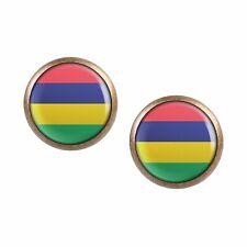 Mylery Earrings Pair with Motif Mauritius Port Louis Flag Bronze Various