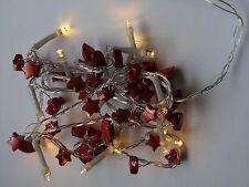 LED-Lichterkette, 15 LED warmweiß, Deko-Girlande, rot oder gold, Batteriebetrieb