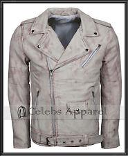 Men's Slim fit Retro Vintage Biker Waxed Brando Real Leather Jacket Motorcycle