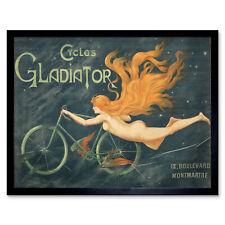 Massias Gladiator Cycles Nude Woman Advert XL Canvas Art Print