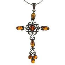 Ciondolo pendente ambra naturale baltica e collana girocollo argento 925